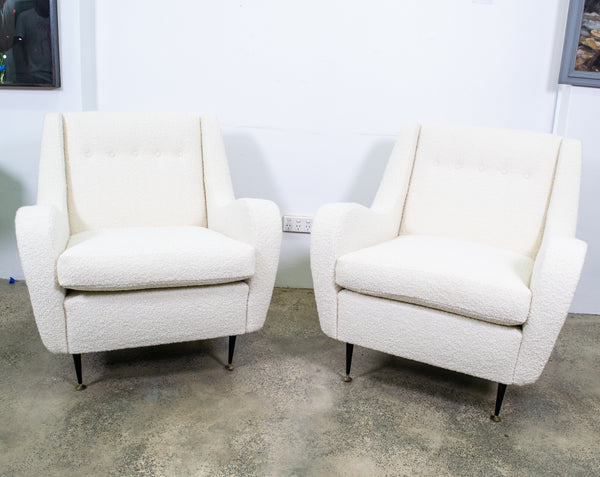 Pair of Mid-Century Italian Armchairs upholstered in boucle