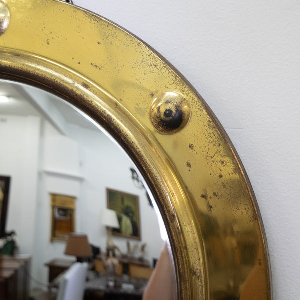 English Brass Convex Mirror
