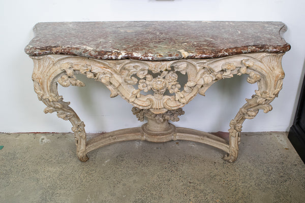 Antique  Louis XV Style Carved & White Painted Console Table