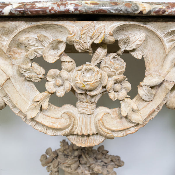 Antique  Louis XV Style Carved & White Painted Console Table (on hold)