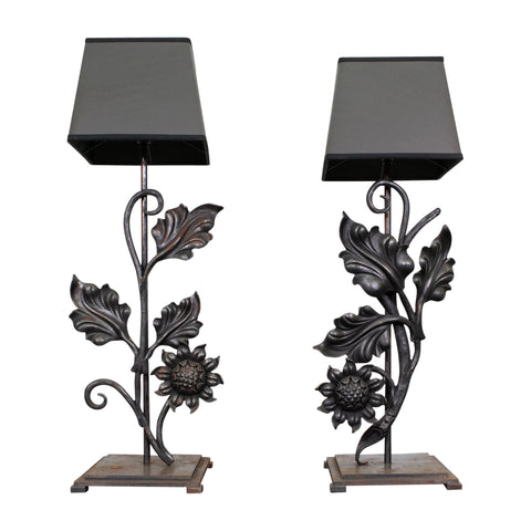 Pair of French Mounted Forged Andirons Lamps