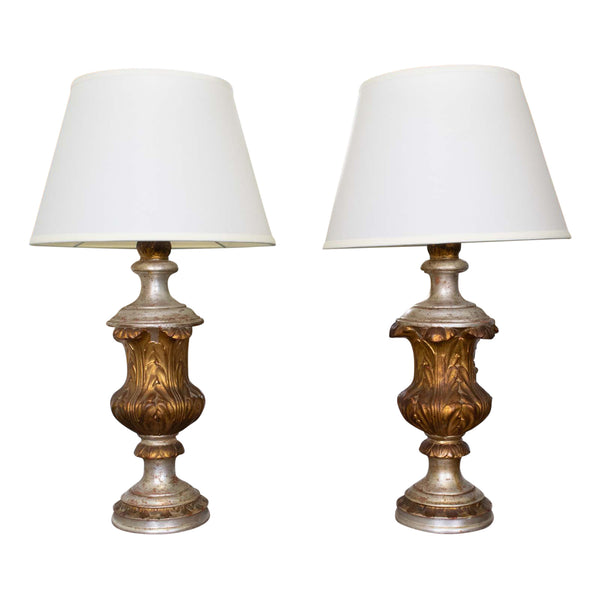 Pair Italian Gilded and Silvered Neo-Classical Urn Lamps