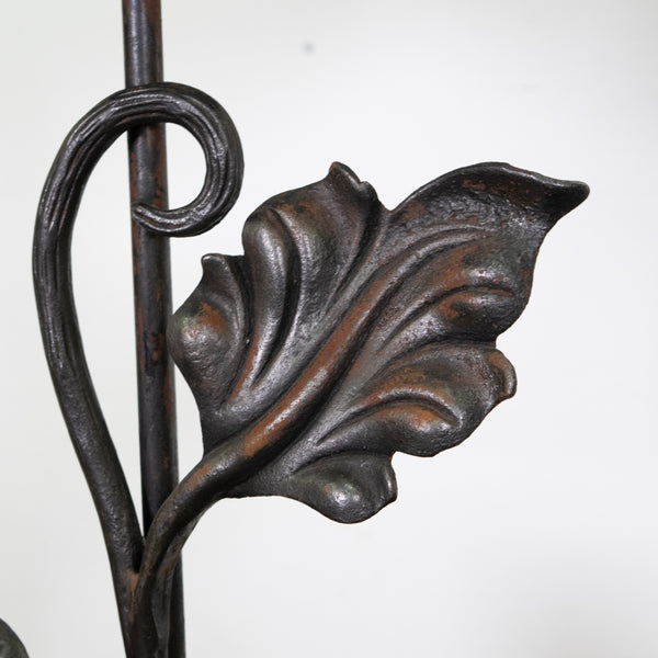 Pair of Mounted Forged Andirons Lamps