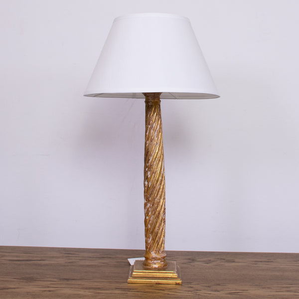 Antique French Giltwood Column Lamp