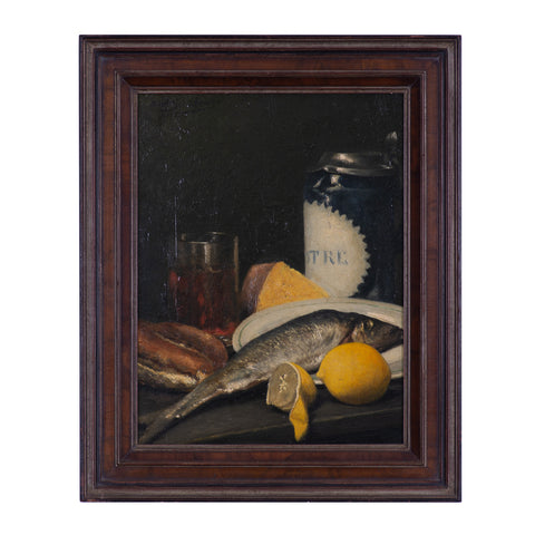 Still life with fish and lemon
