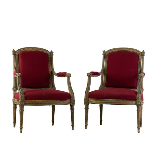 Pair of Antique Painted Louis XVI Style Armchairs