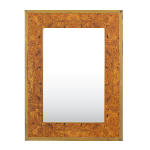 Burl walnut and Brass Mirror in the Style of Willy RizzoBurl walnut and Brass Mirror in the Style of Willy Rizzo