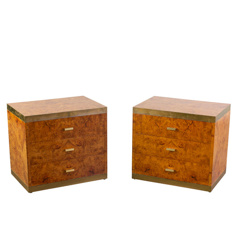 Pair Willy Rizzo Style Burl Walnut Bedside Commodes