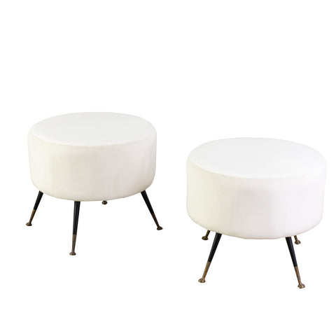 Pair of Mid Century White upholstered Stools