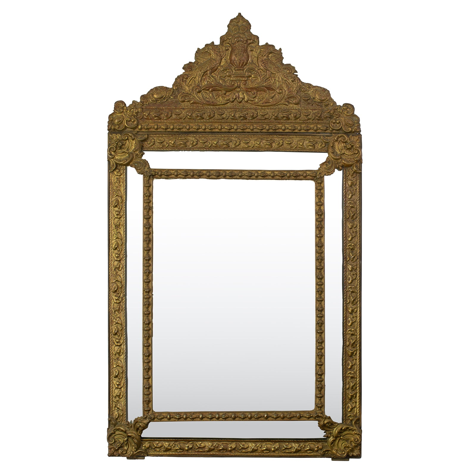 Late 19th Century Brass Repousse Cushion Mirror