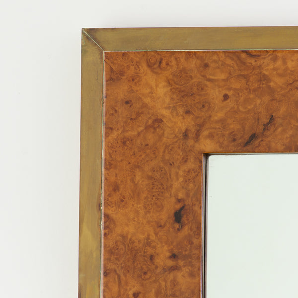 Burl walnut and Brass Mirror in the Style of Willy Rizzo
