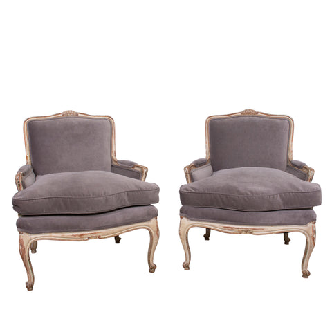 Pair of Antique Louis XV Style Bergeres