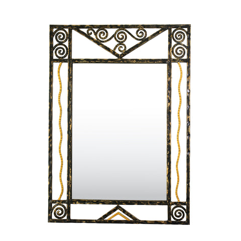 A French Wrought Iron Mirror in the Art Deco Manner