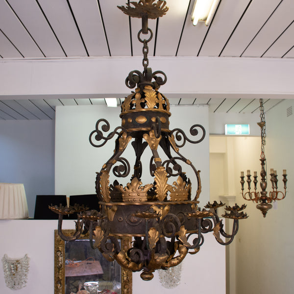 A Large Antique Baroque Gilt and Iron Chandelier