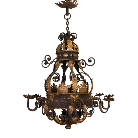 A Large Antique Baroque Spanish Gilt and Iron Chandelier