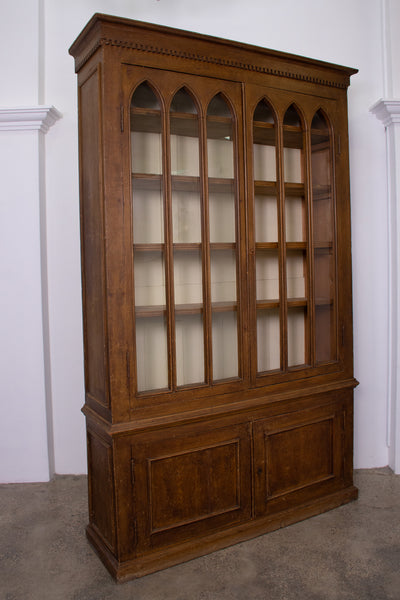 19th Century Gothic Faux Grained Bookcase