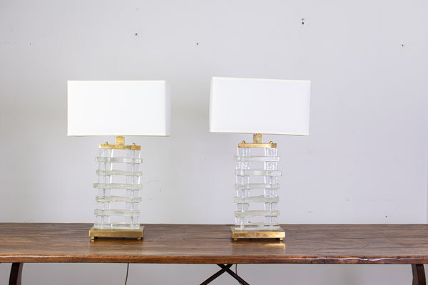 Near Pair of Murano Glass and Brass Table Lamps