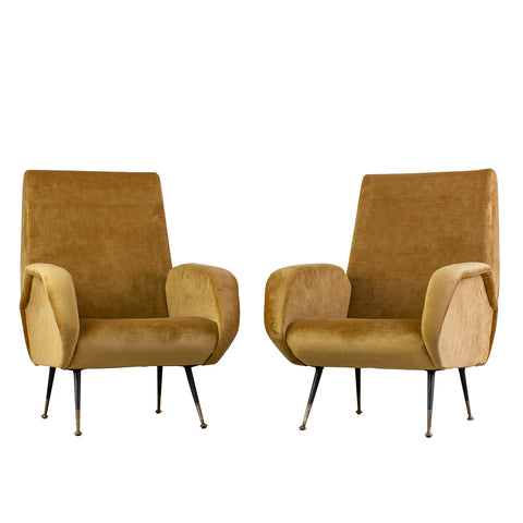 <p>Pair Mid Century Italian velvet Armchairs in the style of Marc Zanuso
