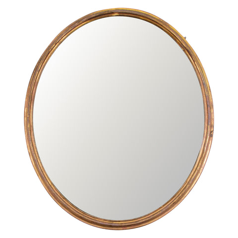 A Large Oval Victorian Gitlwood Mirror