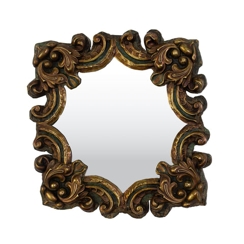 A Small Green and Copper Repousse Mirror