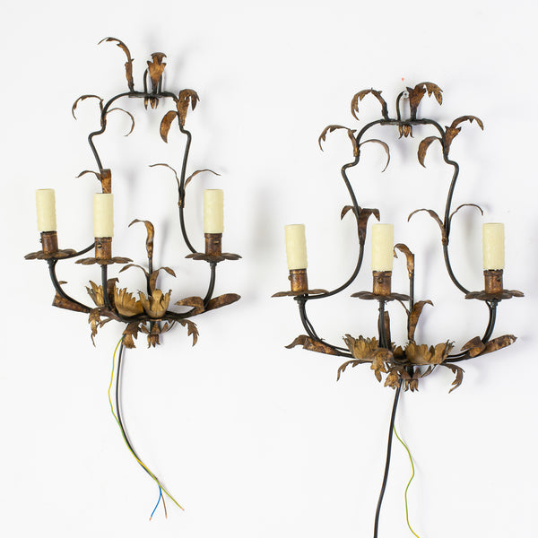 Pair Early 20th Century Gilt Iron Wall Sconces