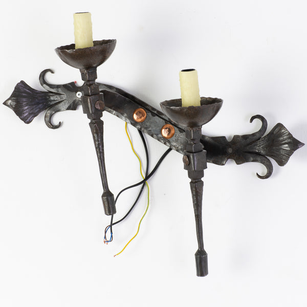 Pair of Hammered and wrought Iron Wall Sconces