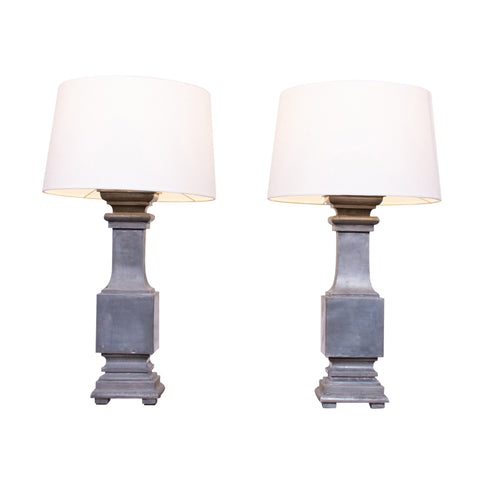 Pair of Zinc Baluster Table Lamps