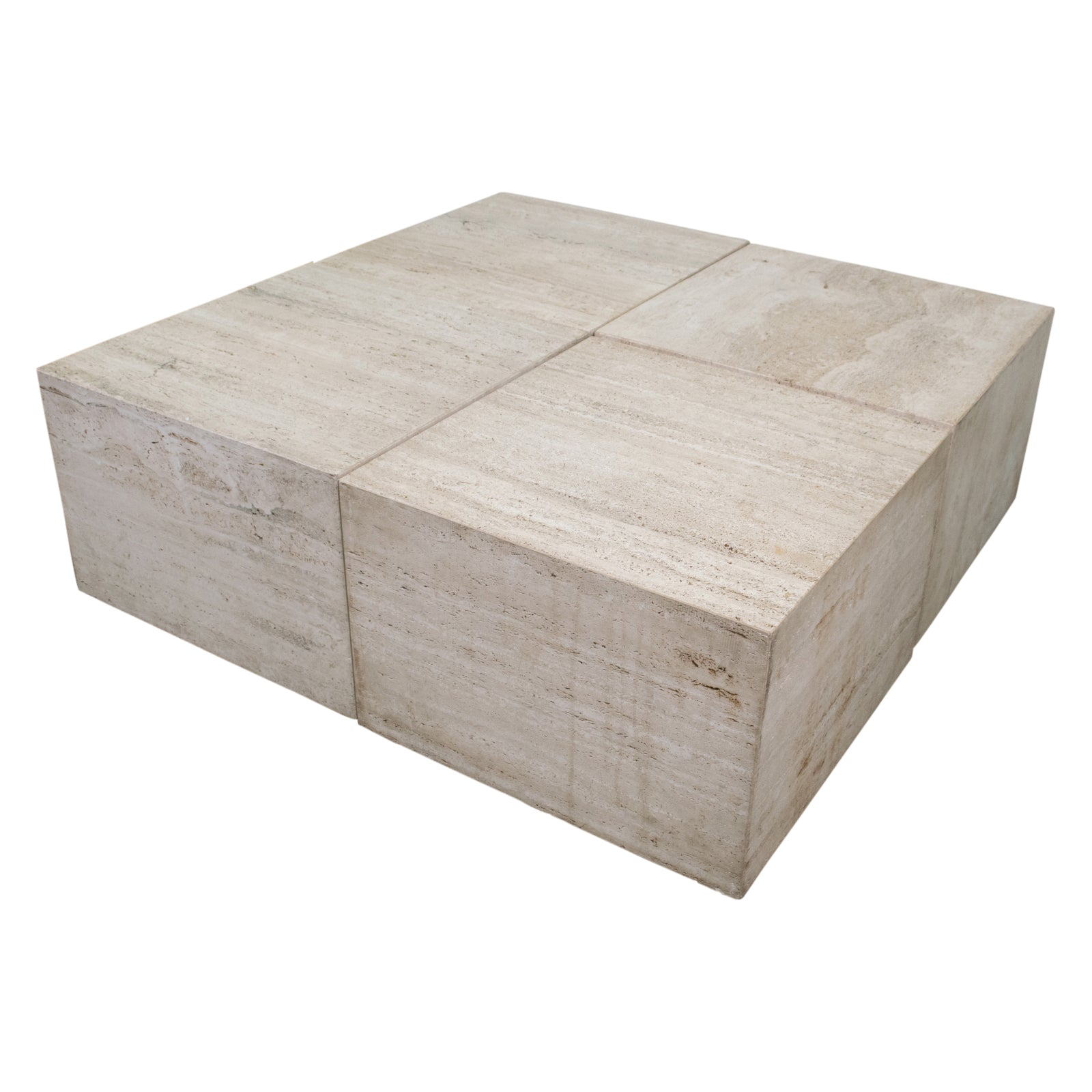 A set of Four Travertine Cubes as a Coffee Table