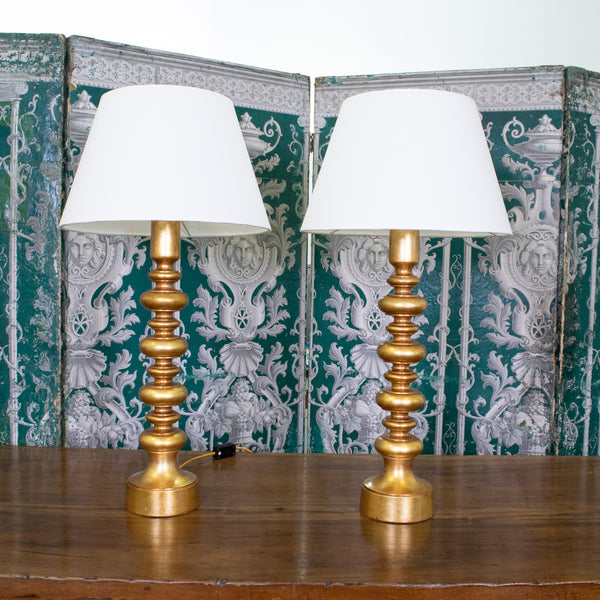 Pair of French Turned Gilt Lamps
