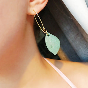 Leather Leaf Dangle Earrings