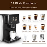 "Hipresso Super Automatic Expresso Coffee Machine-7"" HD TFT Touchscreen w/Milk Frother"