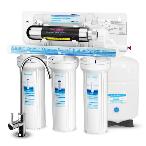 6-Stage Reverse Osmosis Water Filter System with Ultraviolet Sterilizer Filter-75GPD