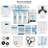 5-Stage Reverse Osmosis System Water Filter -Plus Extra 7 Replacement Filters-75GPD