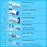 6 Stage Reverse Osmosis Drinking Water Filter System with DI Filter-75GPD