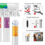 5-Stage Reverse Osmosis Water Filtration System-with Quick Change Twist Filters-75GPD