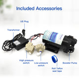 Booster Pump + Transformer + High & Low Pressure Switch + Fittings Kit for RO System-Pack of 7