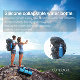 Collapsible Water Bottle with Filter for Hiking & Camping- Silicone BPA Free- 25.6 Ounce