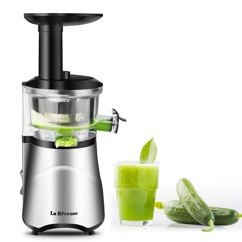 La Reveuse Slow Masticating Juicer Extractor with Quiet Motor Reverse Function and Clean Brush Easy to Operate & Clean -BPA Free (Silver)