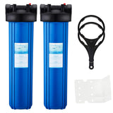 "Big Blue Whole House Water Filter Housing 1"" Outlet/Inlet with Wrench & Bracket -4.5"" x 20"" -Blue Color-Pack of 2"