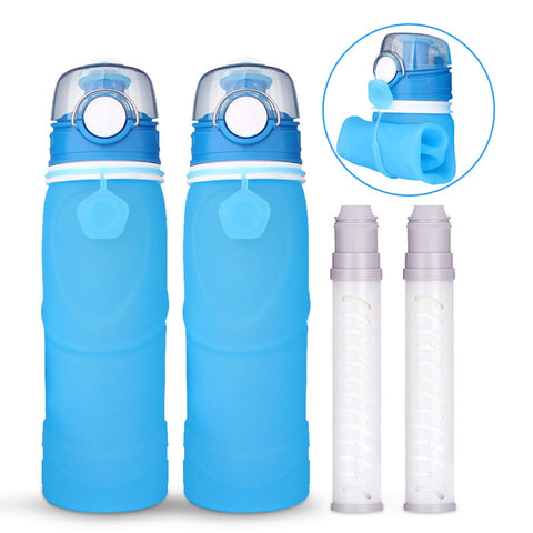 Collapsible Water Bottle with Filter for Hiking & Camping-BPA Free- 25.6 Ounce(2 Packs)