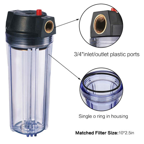 "Fittings incl for /¼/"" PF 10 Standard Clear Housing with 1//2/"" Female Ports"