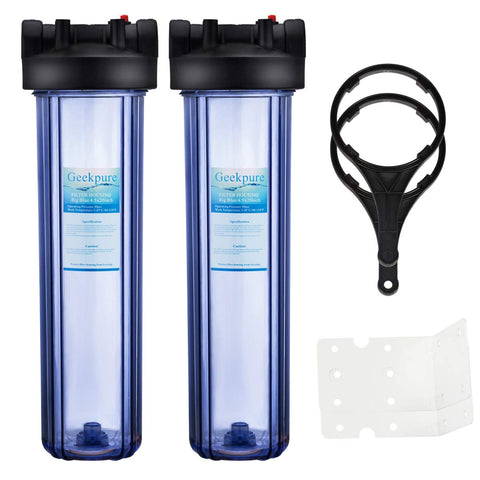 "Big Blue Whole House Water Filter Housing 1"" Outlet/Inlet with Wrench & Bracket -4.5"" x 20"" - Clear(Pack of 2)"