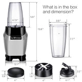 La Reveuse Countertop Blender - Making Shakes and Smoothies 600 Watts-with 20 oz and 24 oz BPA Free Portable Travel Bottles - Dishwasher Safe