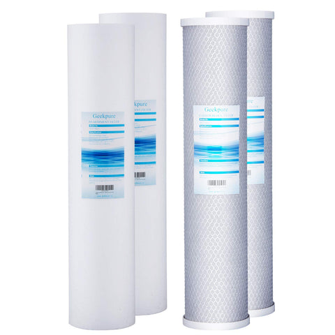 Whole House Big Blue Replacement Water Filters PP Sediment & Block Carbon (Pack of 4)