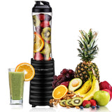 Smoothies Blender 300 Watt with 18 oz BPA Free Portable Travel Sports Bottle (Black)