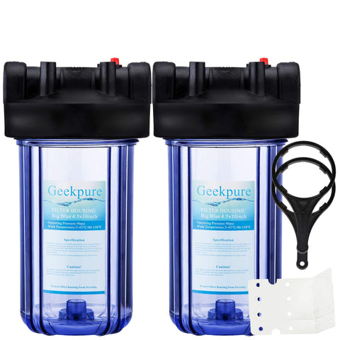 "10"" Whole House Big Blue Water Filter Housing 1"" Outlet/Inlet-Clear-4.5 x 10 Inch (Pack of 2)"