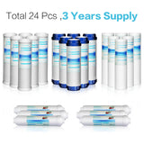 Case of 24 Pcs Universal Compatible Reverse Osmosis Filter Replacement Set