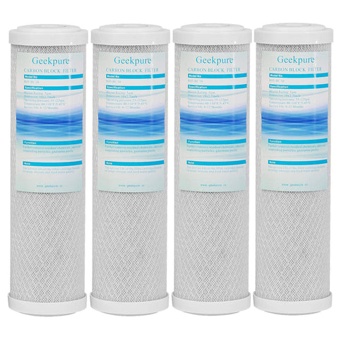 Coconut Shell Activated Carbon Block Whole House Water Filter Replacement Cartridge 5 Micron 2.5 Inch x 10 Inch Remove Chlorine Taste -Pack of 4