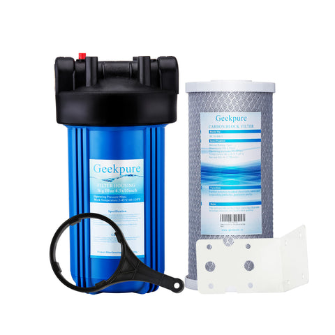 "Whole House Water Filtration System Single Stage w/ 10"" Big Blue Housing 1""NPT & 4.5""x 10"" Carbon Block Filters"