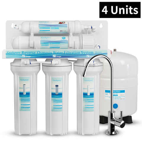 4 Units, 5-Stage Reverse Osmosis Drinking Water Filter System-75GPD